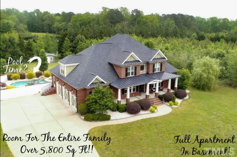 aerial shot of 14550 NC 210 Highway, an Angier luxury home for sale